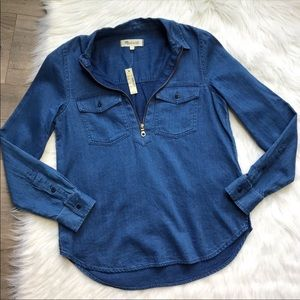🌷NWT Madewell zip front chambray denim top XS